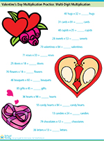 Valentine's Day Multiplication Practice: Multi-Digit Multiplication
