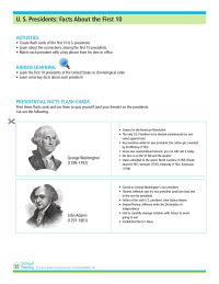 U.S. Presidents: More Facts About the First 10