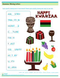 Kwanzaa: Missing Letters Worksheet