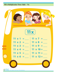 Fill-in Multiplication TImes Table - 11x (no answers)