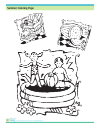 Summer Coloring Page: Watermelon, Picnic, Pool