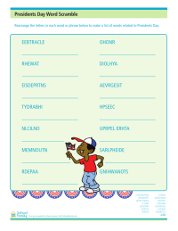 Presidents Day Word Scramble Worksheet