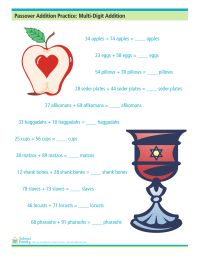 Passover Addition Practice: Multi-Digit Addition