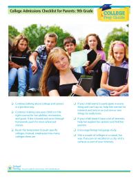 College Prep Checklist for Parents: 9th Grade
