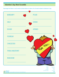 Valentine's Day Word Scramble Activity