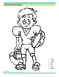 Football Color by Numbers Worksheet
