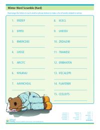 Winter Word Scramble (Hard)