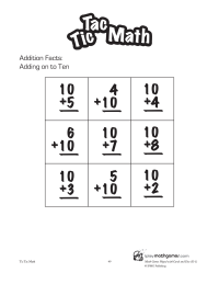 Tic Tac Math: Adding on to Ten
