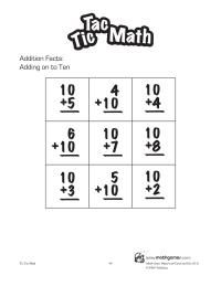 Tic Tac Math: Adding on to Ten