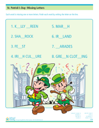 St. Patrick's Day: Missing Letters Worksheet