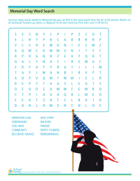 Memorial Day Word Search Worksheet
