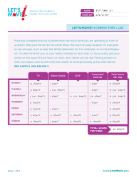 Let's Move! Screen Time Log