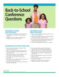 Back-to-School Parent-Teacher Conference Questions
