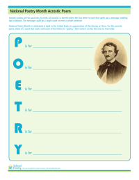 Poetry Month Acrostic Poem Printable