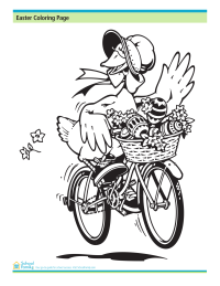 Easter Coloring Page: Goose with Easter Egg Basket