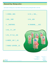 Memorial Day Missing Letters Worksheet