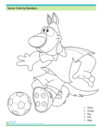 Soccer Color by Numbers Worksheet