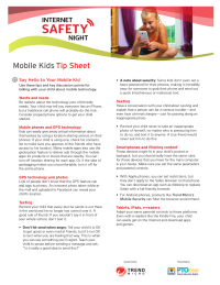 Mobile Kids Communication Tips Sheet