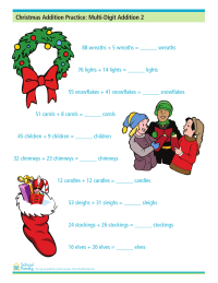Christmas Addition Worksheet: More Multi-Digit Addition