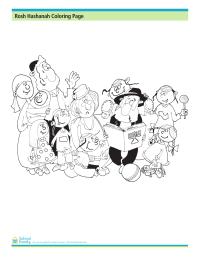 Rosh Hashanah Coloring Page: Family Celebration