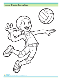 summer olympics coloring page volleyball player - Sports Coloring Pages