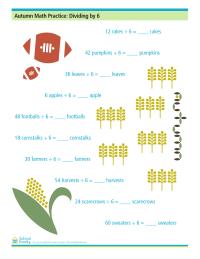 Autumn Math Practice: Dividing by Six