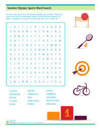 Summer Olympics Sports Word Search