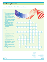 4th of July Crossword Puzzle Worksheets