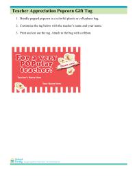 Popcorn Gift Tag for Teacher Appreciation