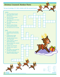 Christmas Crossword Puzzle Worksheets: Reindeer Theme
