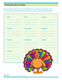 Thanksgiving Word Game