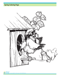 Spring Coloring Page: Spring Cleaning