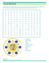 Passover Word Search Activity