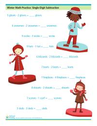 Winter Math Practice: Single-Digit Subtraction