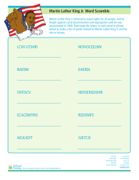 Martin Luther King, Jr., Word Scramble Worksheet