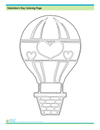 Valentine's Day Coloring Page: Hot Air Balloon