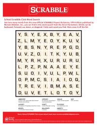 School Scrabble Club Word Search