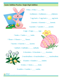 Easter Addition Practice: Single-Digit Addition