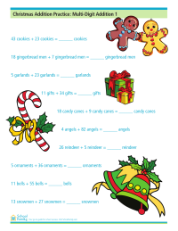 Christmas Addition Practice: Multi-Digit Addition