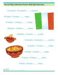 Cinco de Mayo Subtraction Practice: Multi-Digit Subtraction