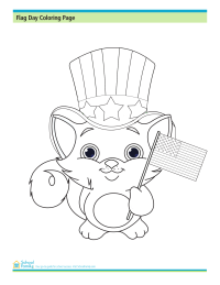 Flag Day Coloring Page: Kitten Waving the Flag