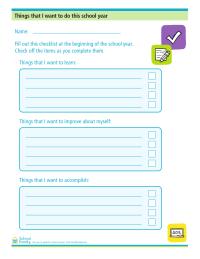 Goals for School Year Sheet