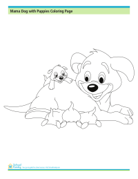 Mama Dog With Puppies Coloring Page