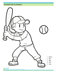 Baseball Color by Numbers Printable