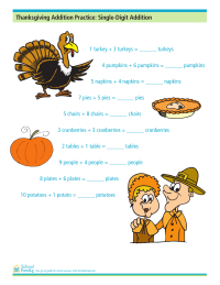 Thanksgiving Addition Practice: Single-Digit Addition