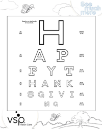 Happy Thanksgiving Color and Print Eye Chart