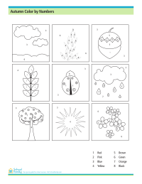 Fall Color by Numbers (Coloring Worksheet)