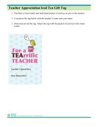 Iced Tea Gift Tags for Teacher Appreciation