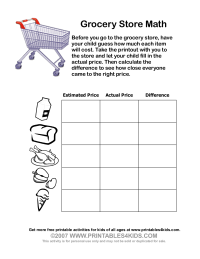 Grocery Store Math Printable