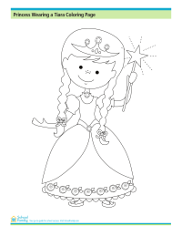 Princess Wearing a Tiara Coloring Page